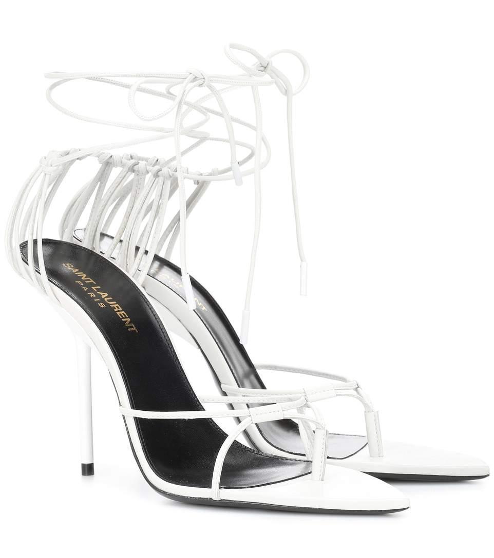 824b4a8daa3c Saint Laurent Inez Leather Sandals In White
