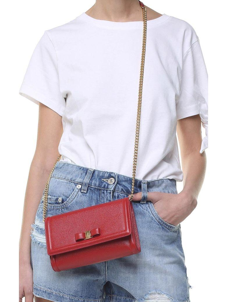 bc2b7567fa99 Salvatore Ferragamo Mini Vara Pebbled-Leather Crossbody Bag In Rosso ...