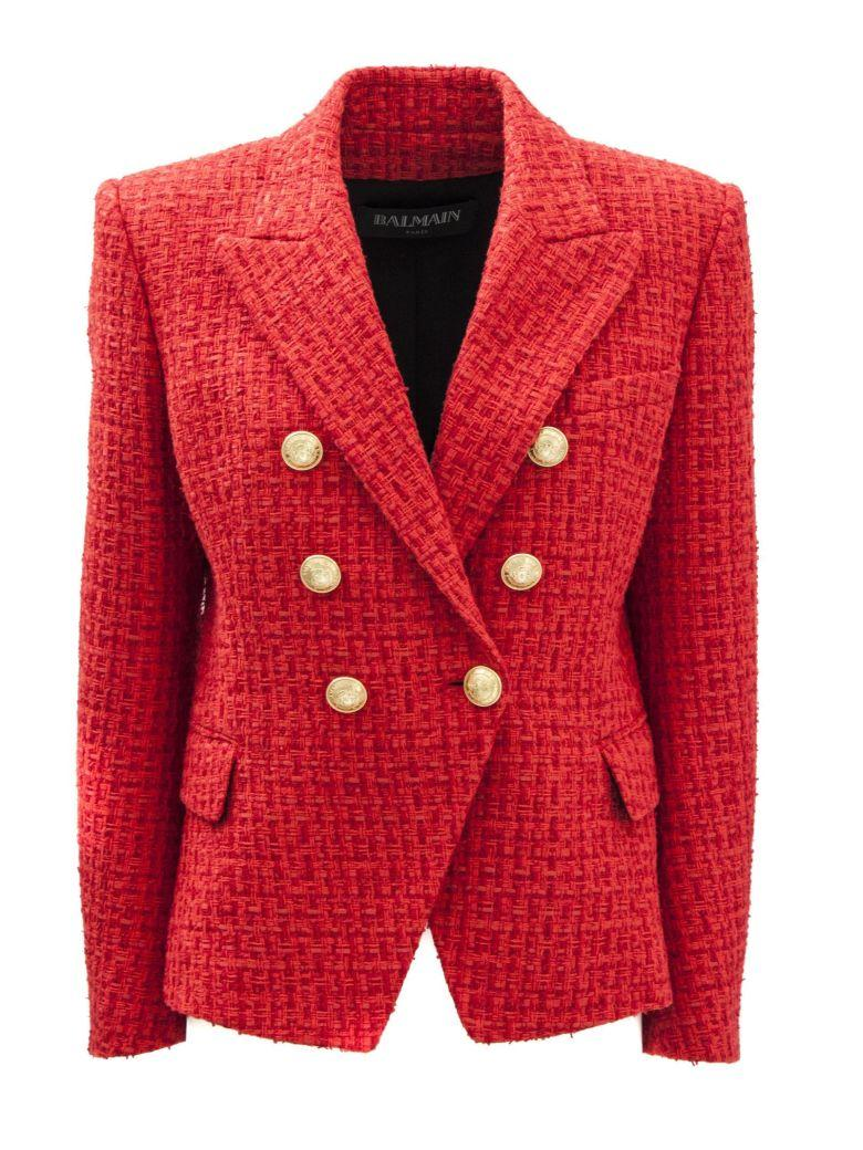 Balmain Double Breasted Red Jacket. In Rosso
