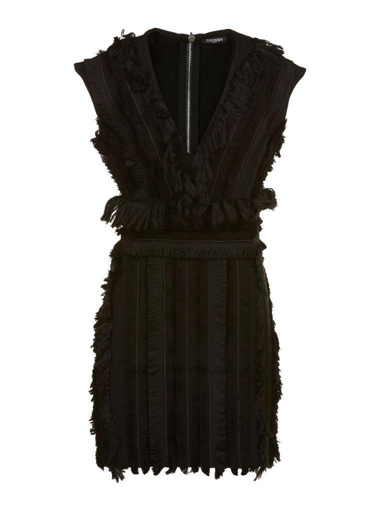 Balmain Fringing Mini Dress In Nero