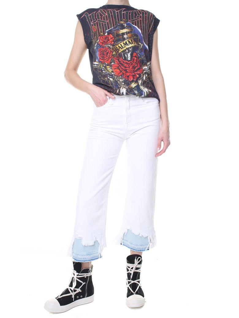 1376e1a5a02 R13 Camille High-Rise Double-Shredded Hem Jeans In Bianco   ModeSens