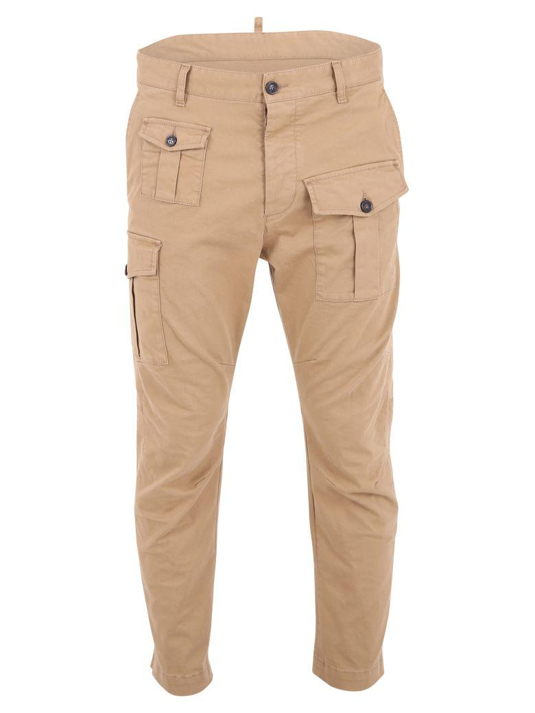 Dsquared2 Cotton Cargo Trousers In Beige