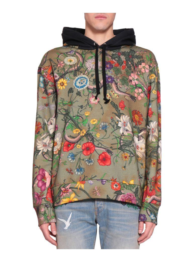 70b3b2c5651d Gucci Flora Snake Cotton Hoodie In Verde