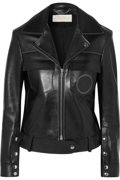 ChloÉ Circular Pocket Leather Jacket In Black