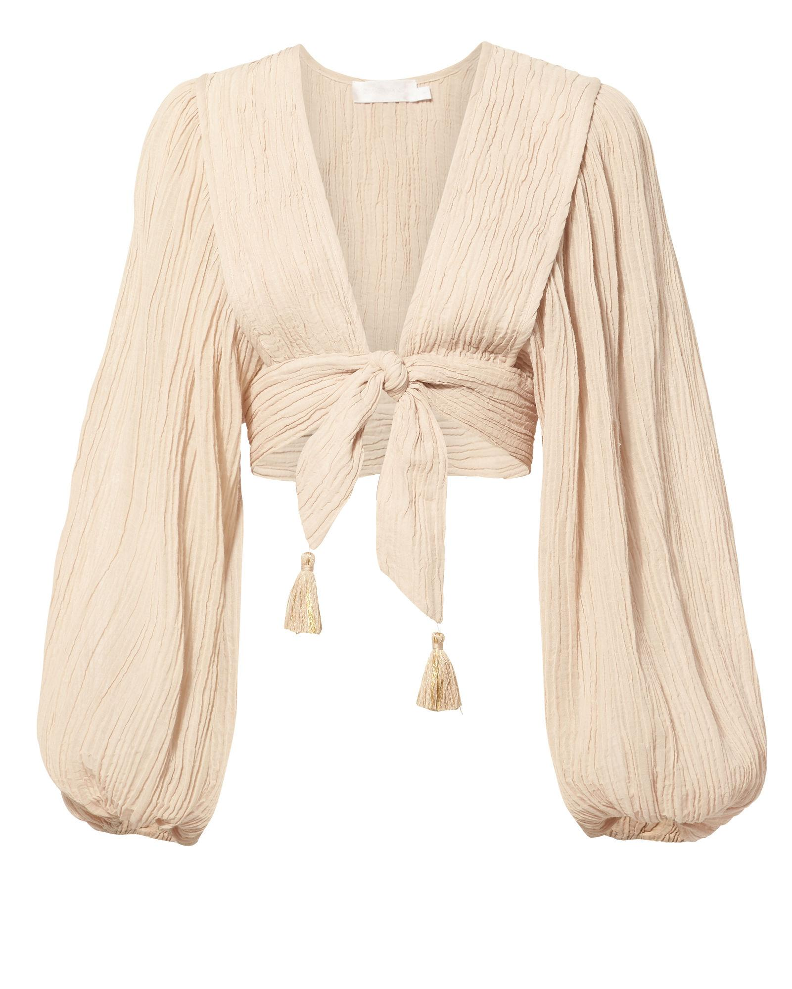 d73352b9d97de Zimmermann Bayou Tie-Front Crinkled Ramie And Cotton-Blend Top In Taupe
