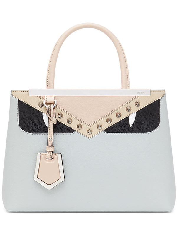 9bd27908369f Fendi Cream Colour Block 2 Jours Petite Monster Leather Tote Bag In Grey