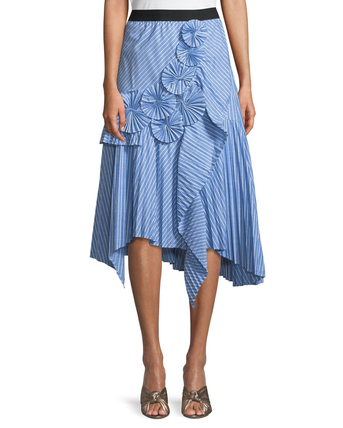 9702fe698 Joie Edericka Striped Pleated Applique Midi Skirt In French Chambray ...