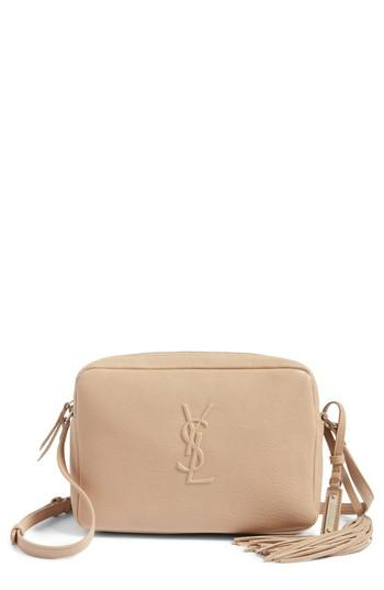 96228aa752 A minimalist crossbody bag makes maximum impact with an embossed logo  monogram and dramatic tassel embellishment. Style Name  Saint Laurent Small  Mono ...