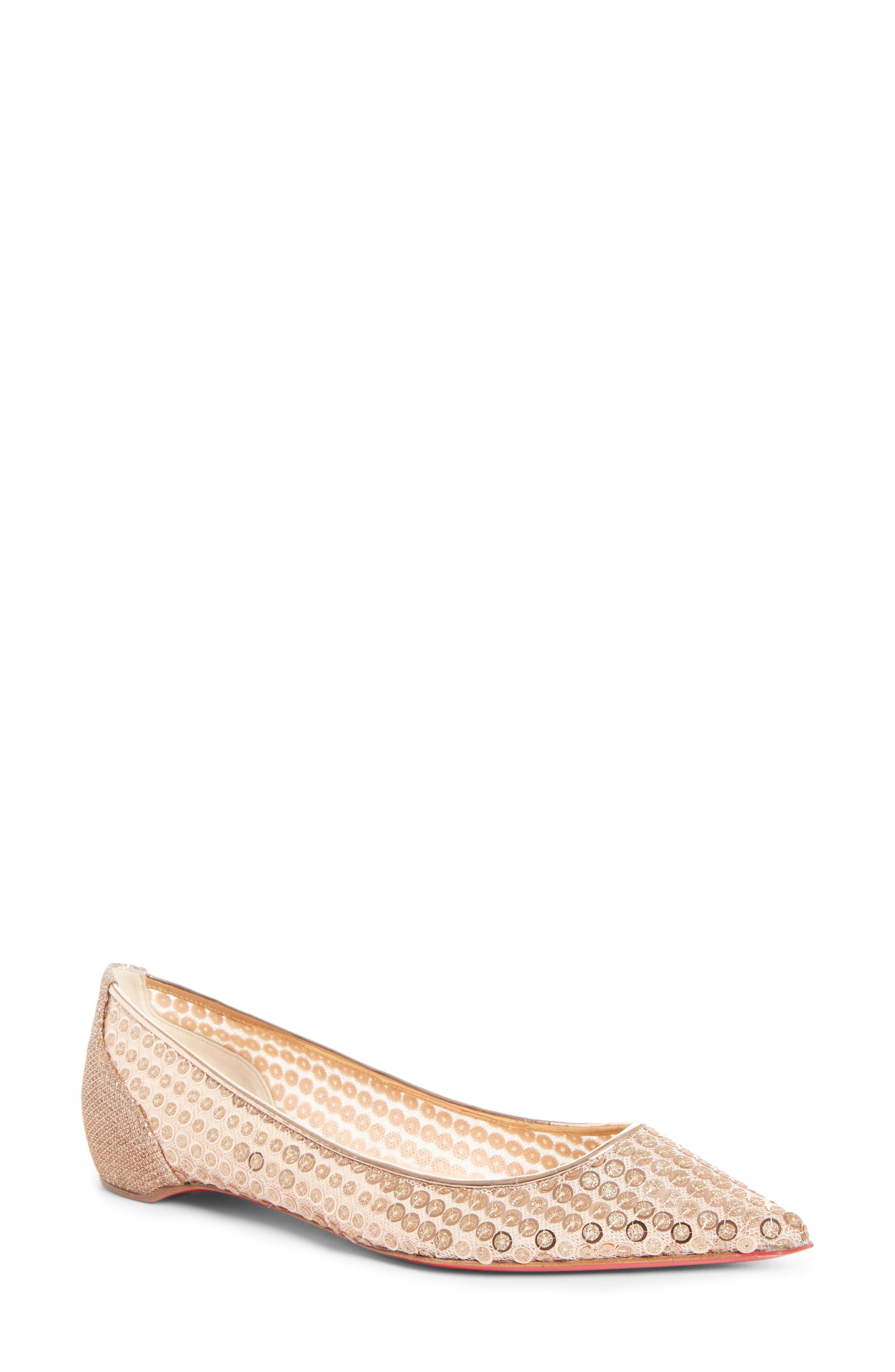 9be8ef69d8 Christian Louboutin Lace Sequined Red Sole Ballet Flats In Nude ...