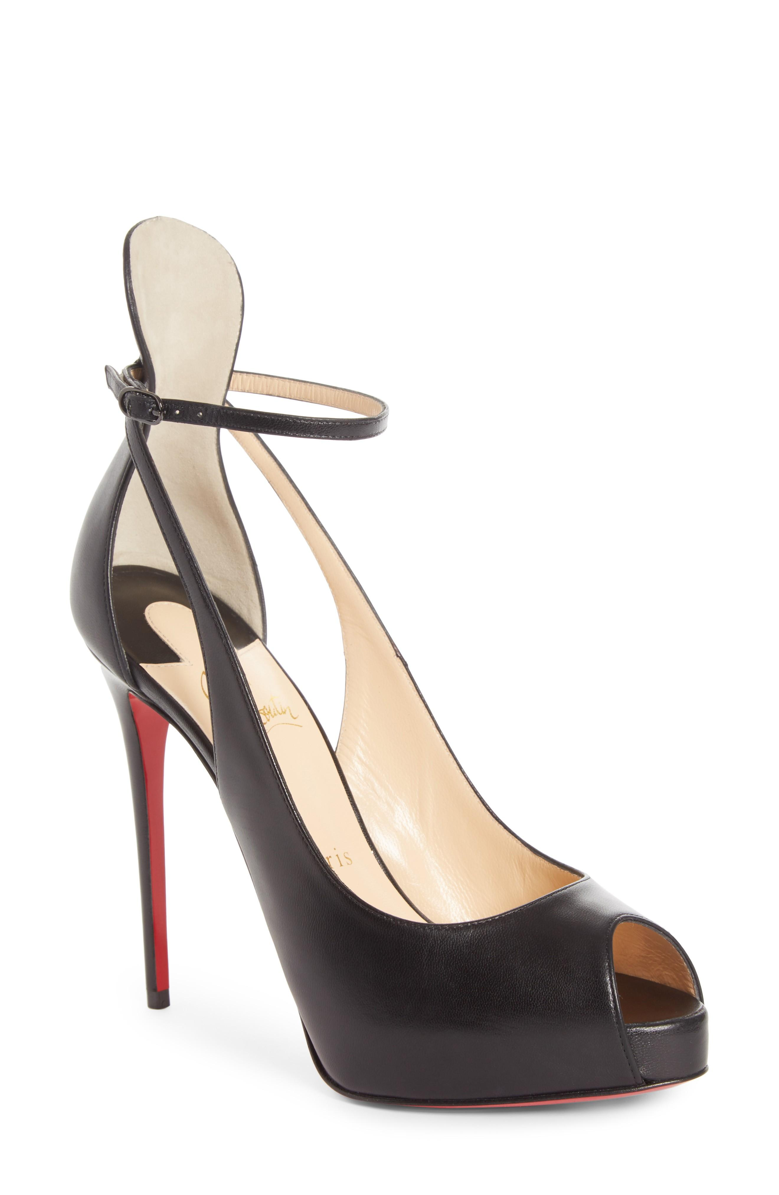2a71ec29e55 Mascaralta Platform Peep-Toe Red Sole Sandals in Black