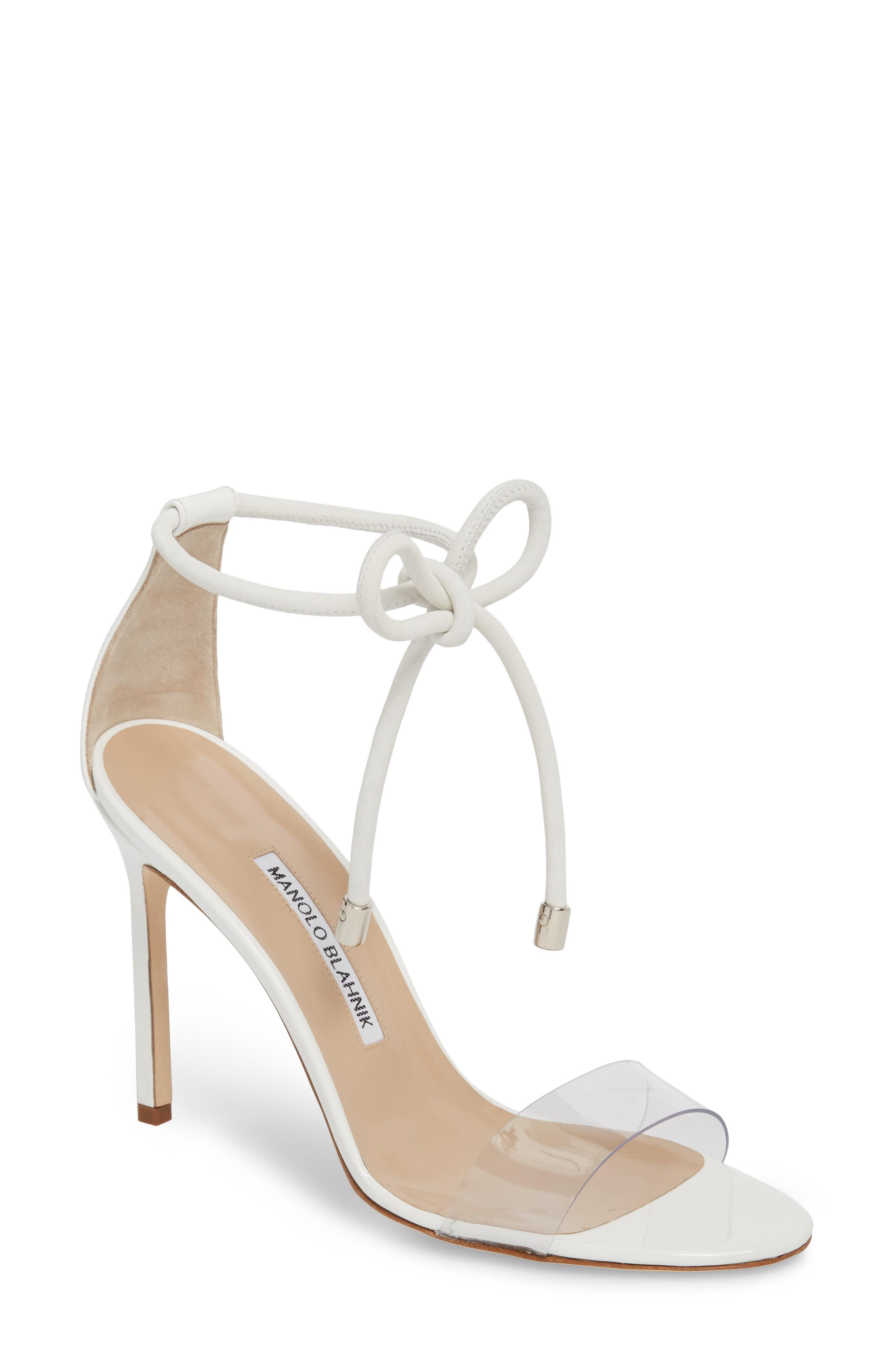 Manolo Blahnik Estro Ankle Tie Sandal In White Patent