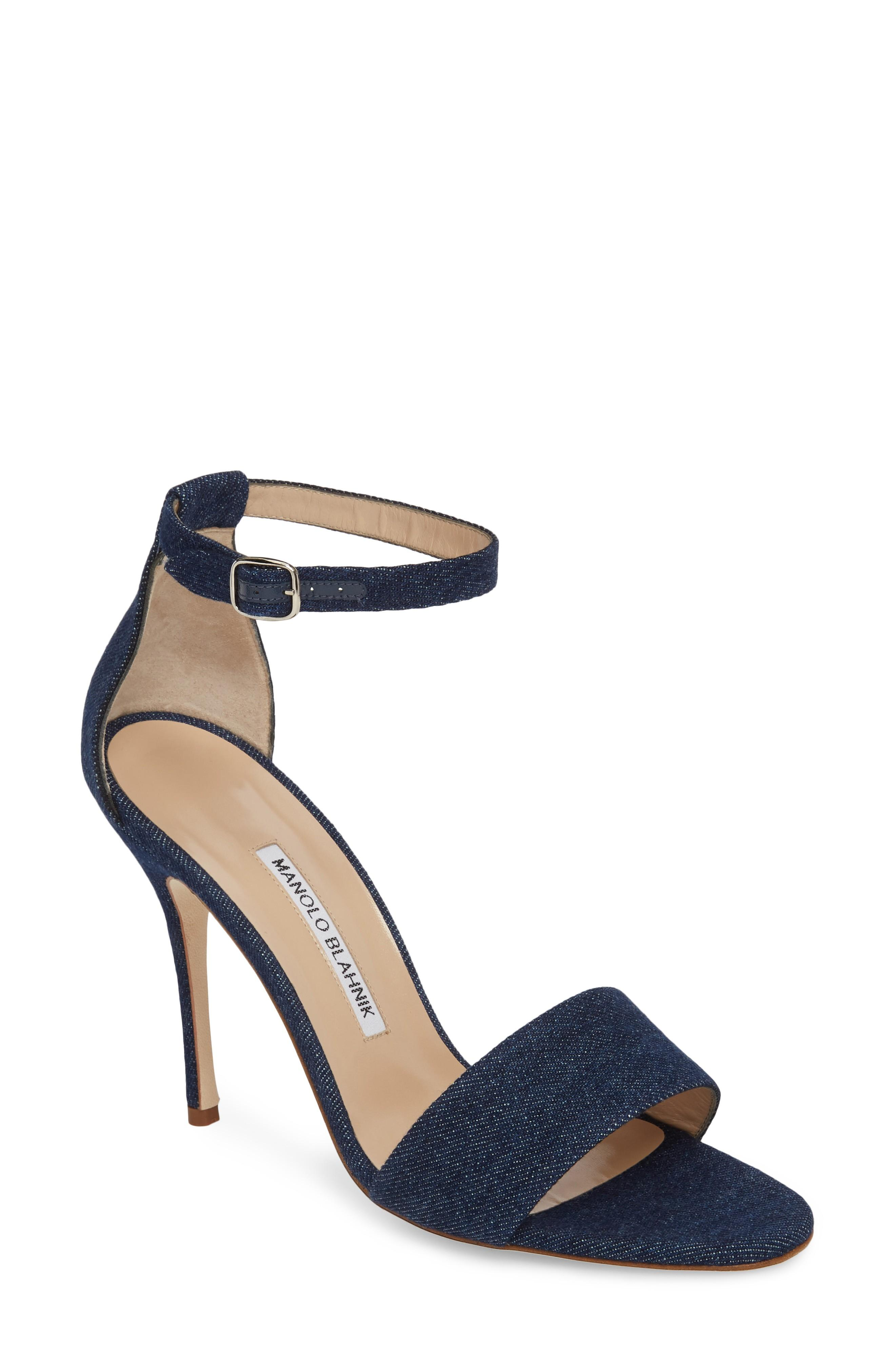 Manolo Blahnik Tres Ankle Strap Sandal In Denim Blue