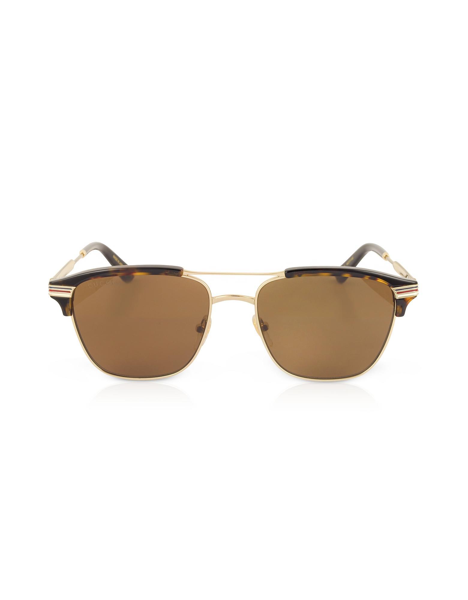 95ede6a3e74 Gucci Gg0241S 002 Square-Frame Metal Sunglasses In Havana Brown ...