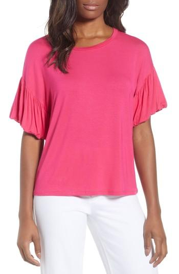 d13eb00847c Bobeau Knit Bubble Sleeve Tee In Pink Cabaret