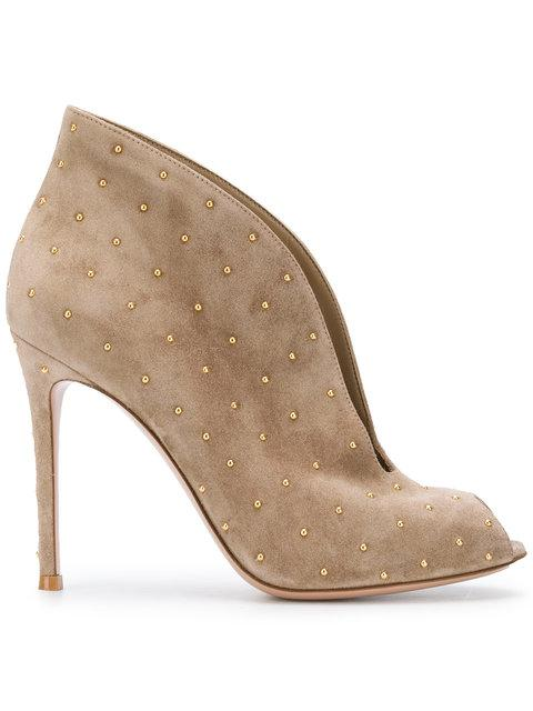 Gianvito Rossi Studded Open Toe Boots - Neutrals