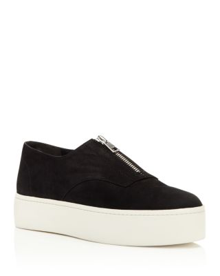 8e07368f788d Vince  Warner  Nubuck Leather Zip Flatform Sneakers In 黑色