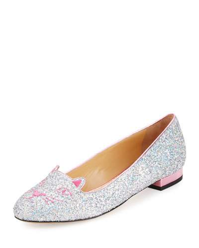 Kitty Fantasy Silver Glitter And Rose Quartz Metallic Leather Flats in  Fantasy Silver/Ro