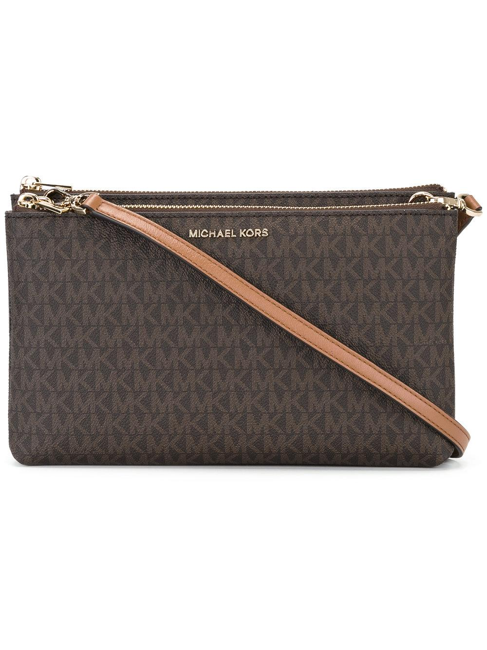 Michael Kors Logo Print Crossbody Bag In Brown