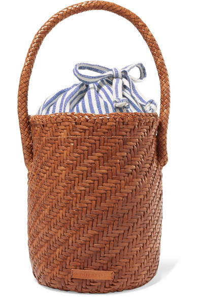 Loeffler Randall Cleo Woven Leather Bucket Bag - Brown In Tan