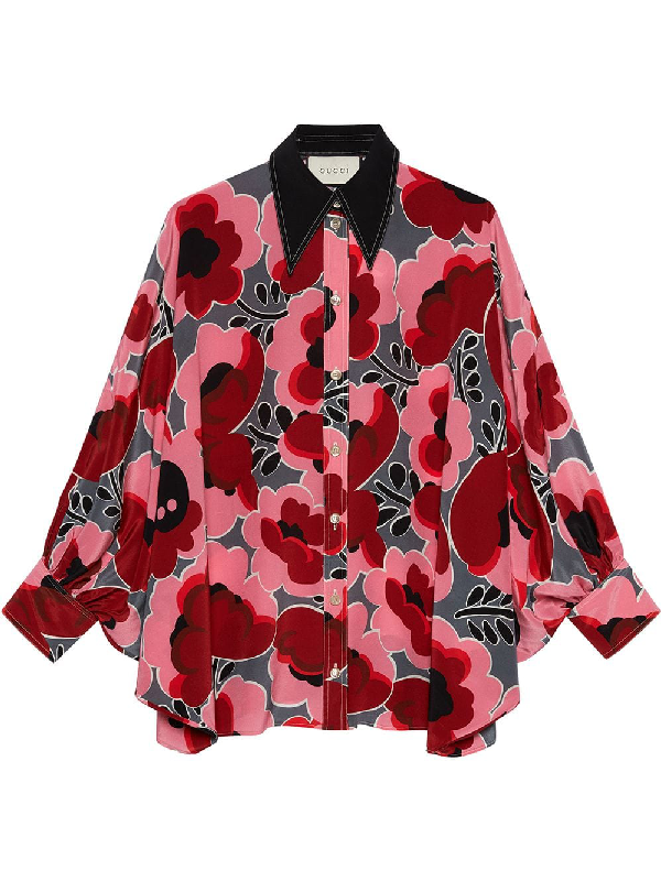 4b1c16299 Gucci Long-Sleeve Poppies-Print Crepe De Chine Shirt With Bow Detail In Pink