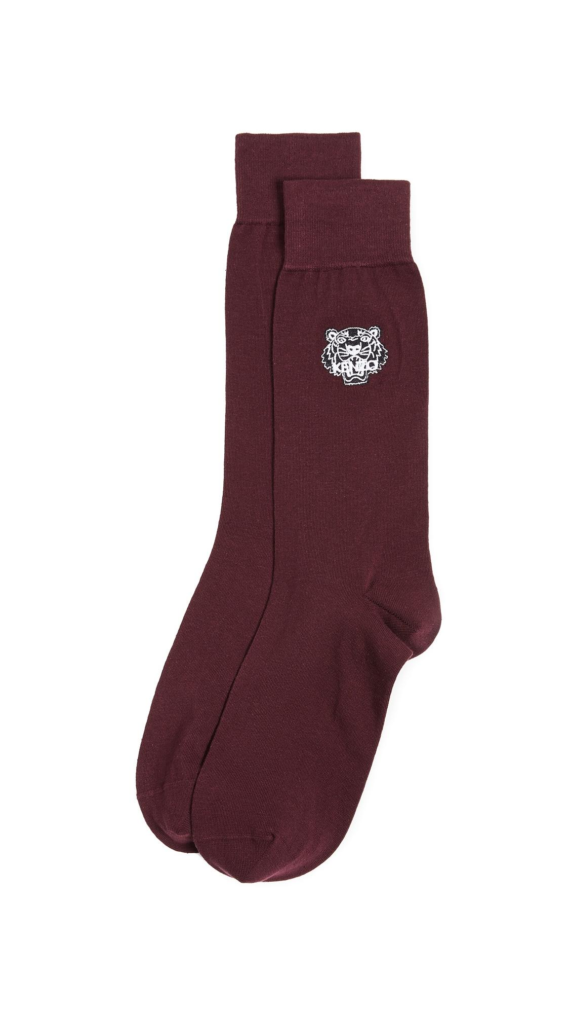 Kenzo Tiger Embroidered Socks In Red