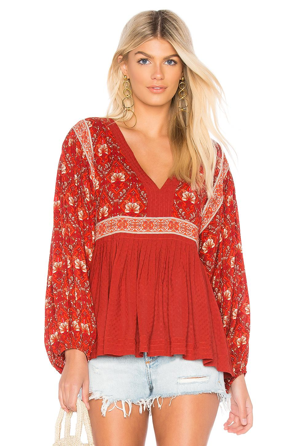 Spell & The Gypsy Collective Jewel Smock Blouse In Red