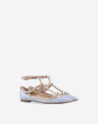 Valentino Rockstud Patent Leather Cage Flats In Powder-Blue
