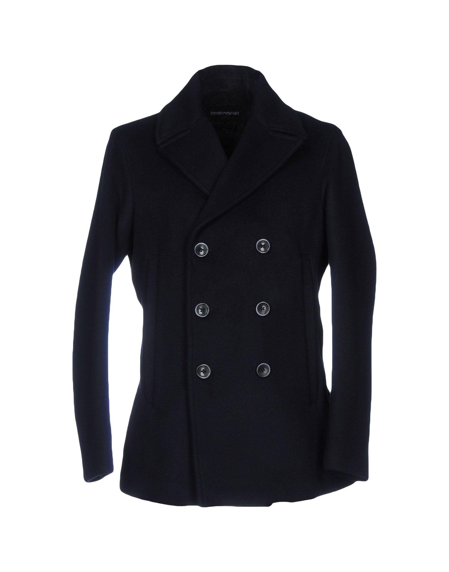 Emporio Armani Coat In Dark Blue