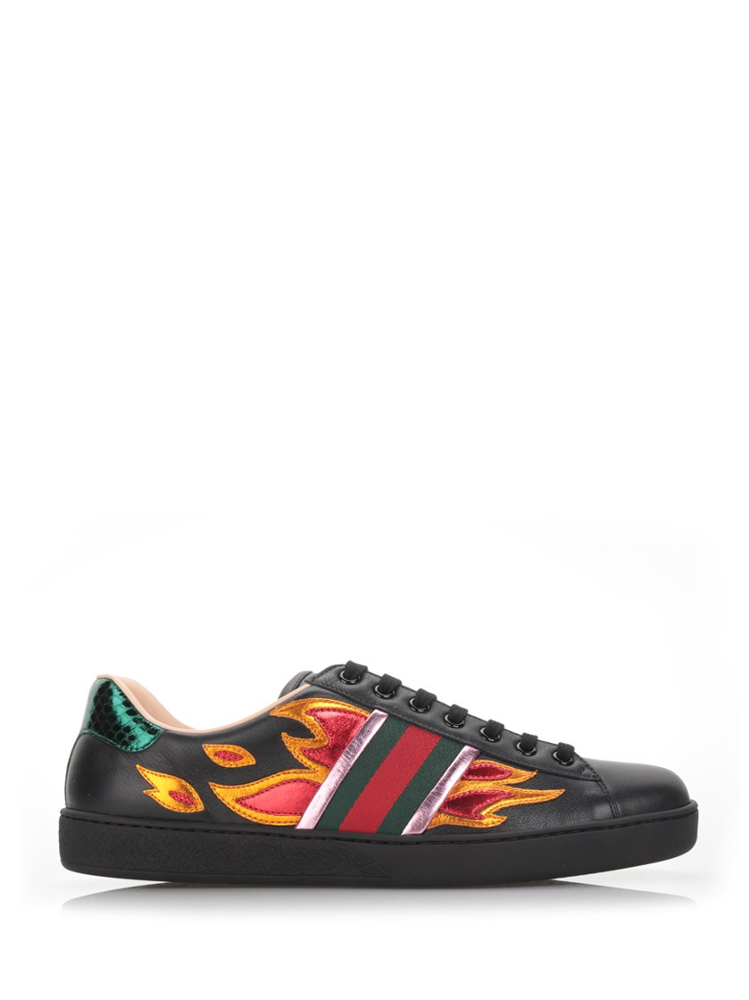 922b32d6dc7 Gucci  New Ace Flames  Sneaker With Genuine Snakeskin Detail (Men) In Black