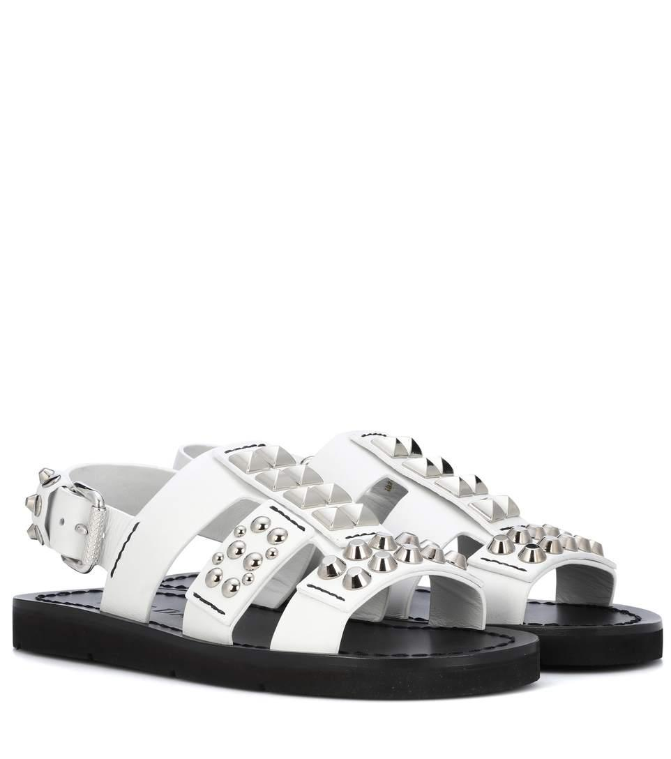 Prada Embellished Leather Sandals In White