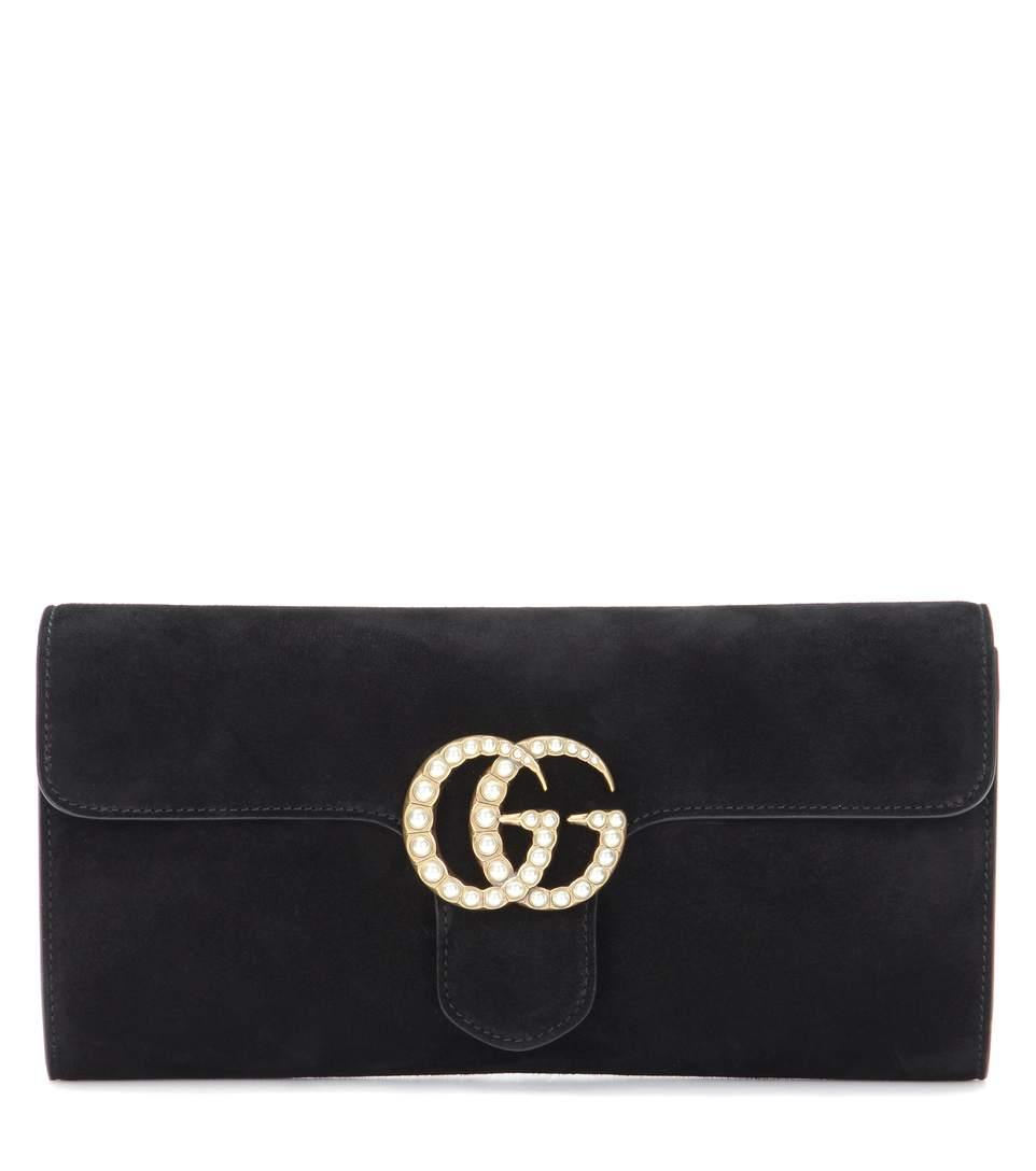 74125180af50 Gucci Gg Marmont Suede Clutch In Eero | ModeSens