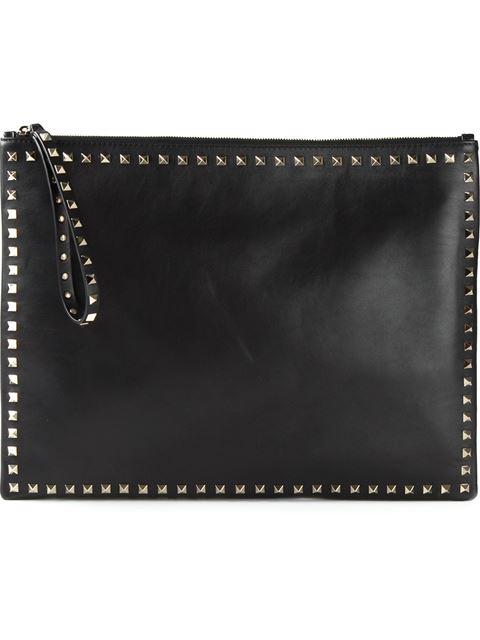 Valentino Black Leather 'Rockstud' Oversized Zip Top Clutch