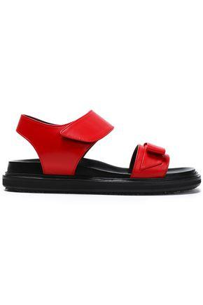 Marni Woman Bow-Embellished Leather Sandals Crimson In Red