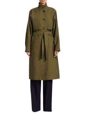 Victoria Beckham Belted Trench Coat In Military Green