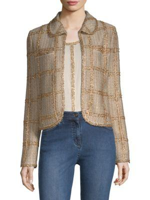 St. John Checkered Tweed Jacket In Gold Multi
