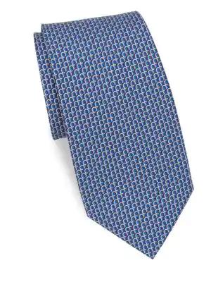 Salvatore Ferragamo Filo Gancini Classic Tie In Navy
