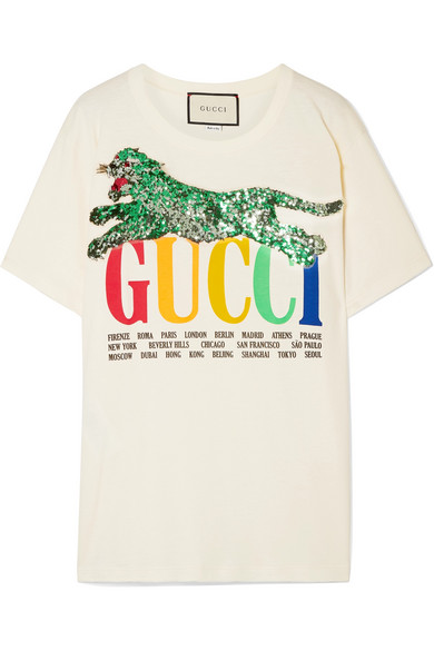 047e4947c1b Gucci Cities Crewneck Short-Sleeve Cotton T-Shirt With Sequined Panther  Detail In Ivory