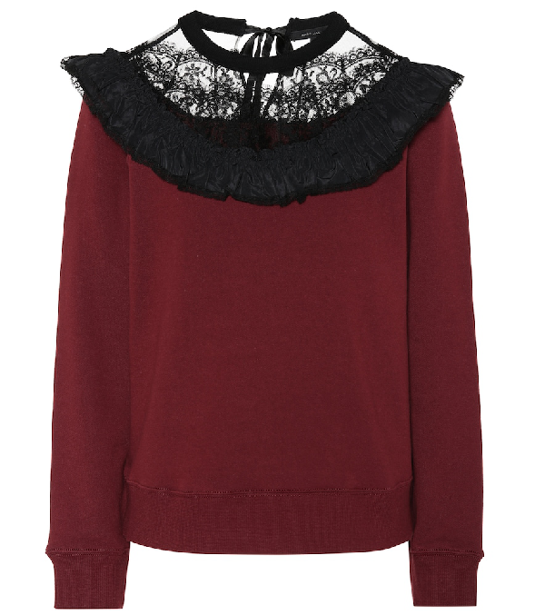 Marc Jacobs Crewneck Lace Ruffle Yoke Cotton Sweatshirt In Burgundy Modesens