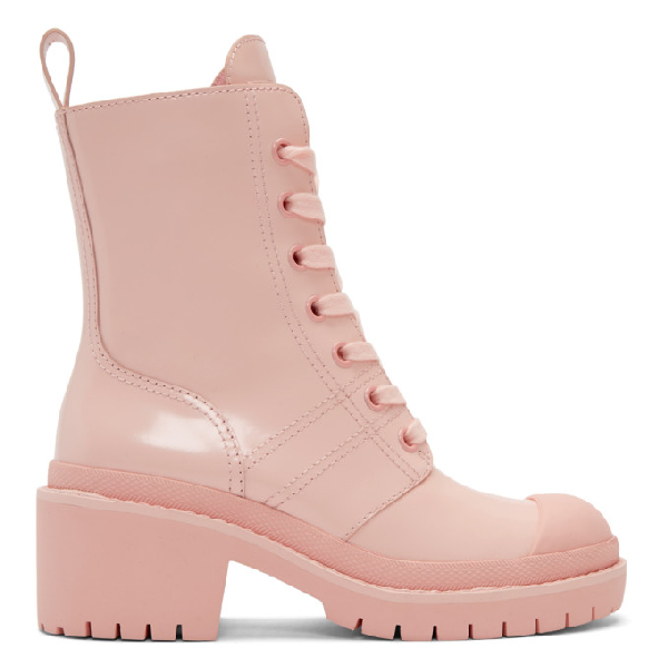 08d1f08f388 Bristol Lace-Up Chunky-Heel Leather Combat Boot in 625 Lt Pink