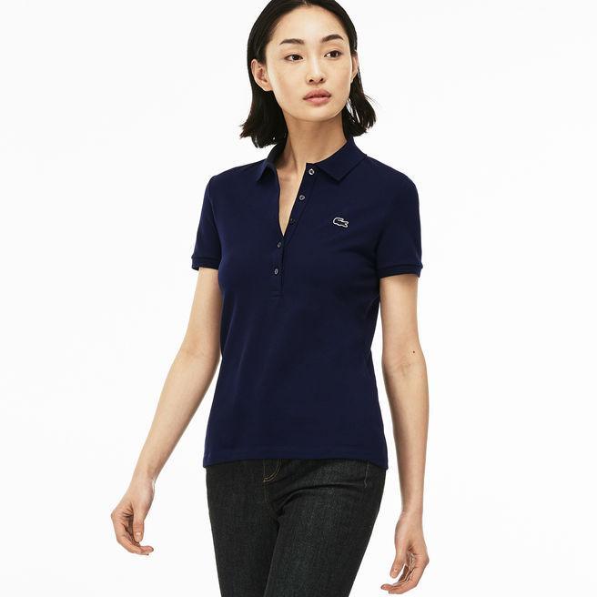 0a24b6692a Women's Slim Fit Stretch Mini Cotton Piqué Polo Shirt in Navy Blue