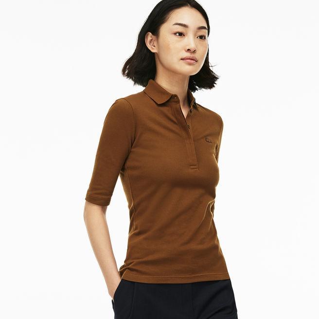 a710ae43 Lacoste Women's Slim Fit Stretch Mini Piqué Polo Shirt In Dark Renaissance  Brown