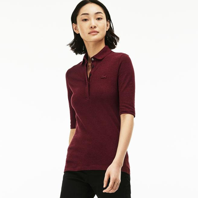 6066aff773 Women's Lacoste Slim Fit Stretch Mini Piqué Polo Shirt in Red Basque Chine