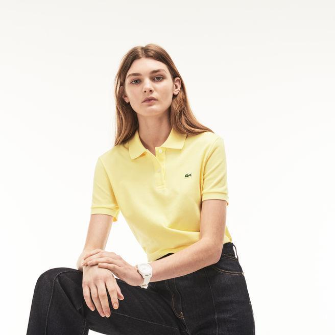 Women's Classic Fit Soft Cotton Petit Piqué Polo Shirt In Yellow