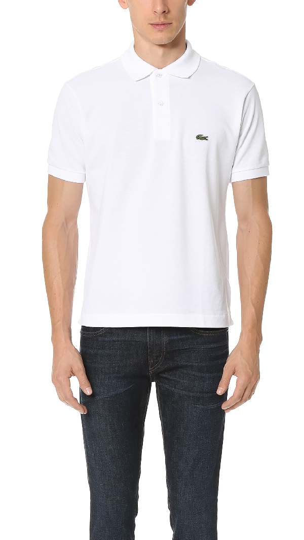 Lacoste Men's Regular Fit Lightweight Cotton Polo In White