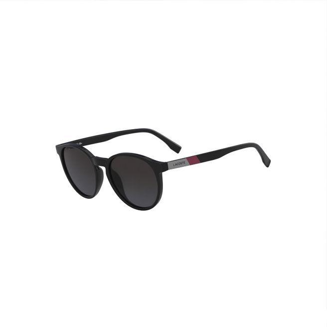 Lacoste Unisex Plastic Round Color Block Sunglasses In Matt Black