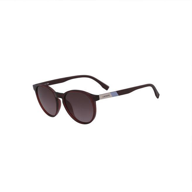 Lacoste Unisex Plastic Round Color Block Sunglasses In Burgundy