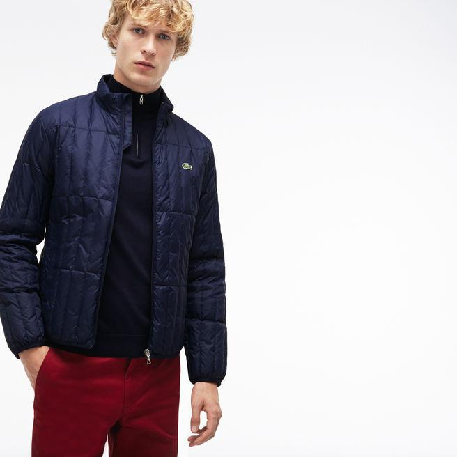 72334f62c Lacoste Men s Lightweight Built-In Hood Quilted Down Packable Jacket In  Navy Blue
