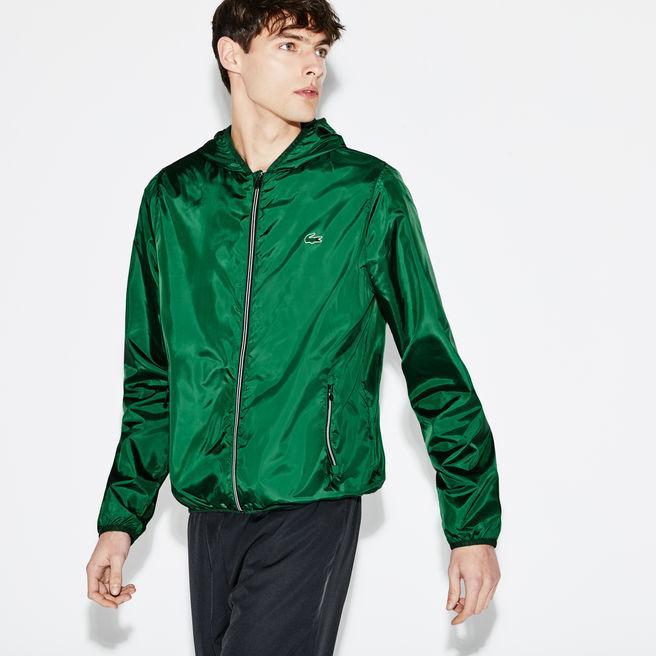 d37ebf0b0 Lacoste Men s Sport Tennis Water-Resistant Hooded Jacket In Green Black