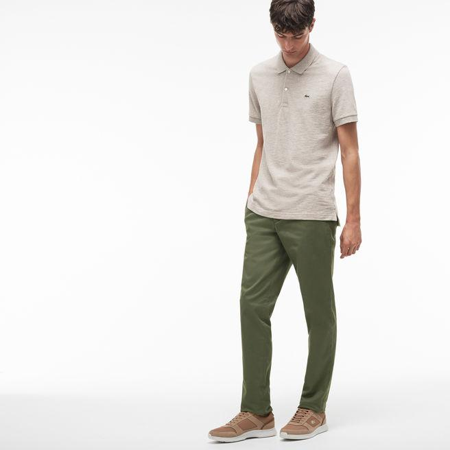 a42e685425 Lacoste Men's Slim Fit Stretch Gabardine Chino Pants In Khaki Green ...
