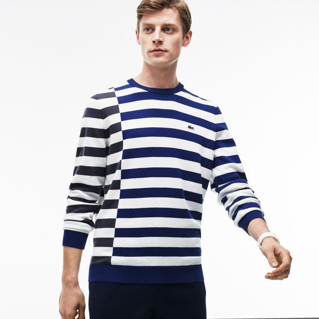 Lacoste Men's Crew Neck Off-center Stripes Cotton T-shirt In Navy Blue / White / Dark Grey / Yellow